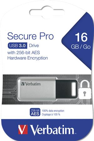 Pendrive 16GB USB 3.0 GDPR VERBATIM SECURE DATA PRO szürke -