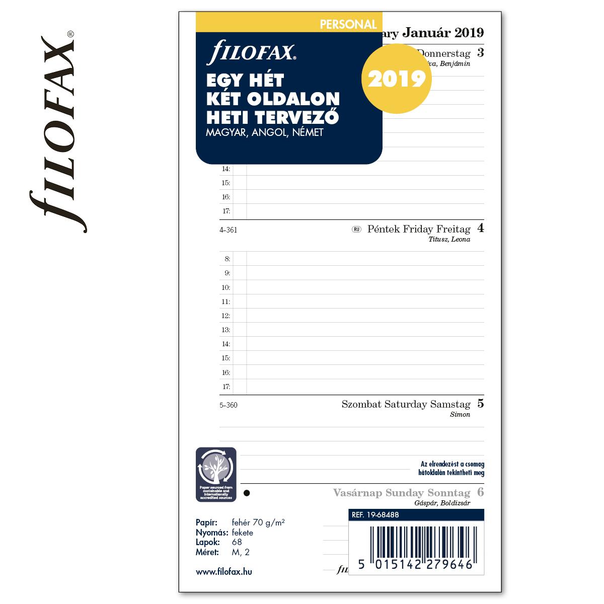 df6b336f5396 Goss: Filofax Naptárbetét Heti 1 hét / 2 oldal Magyar (H-GB-D ...