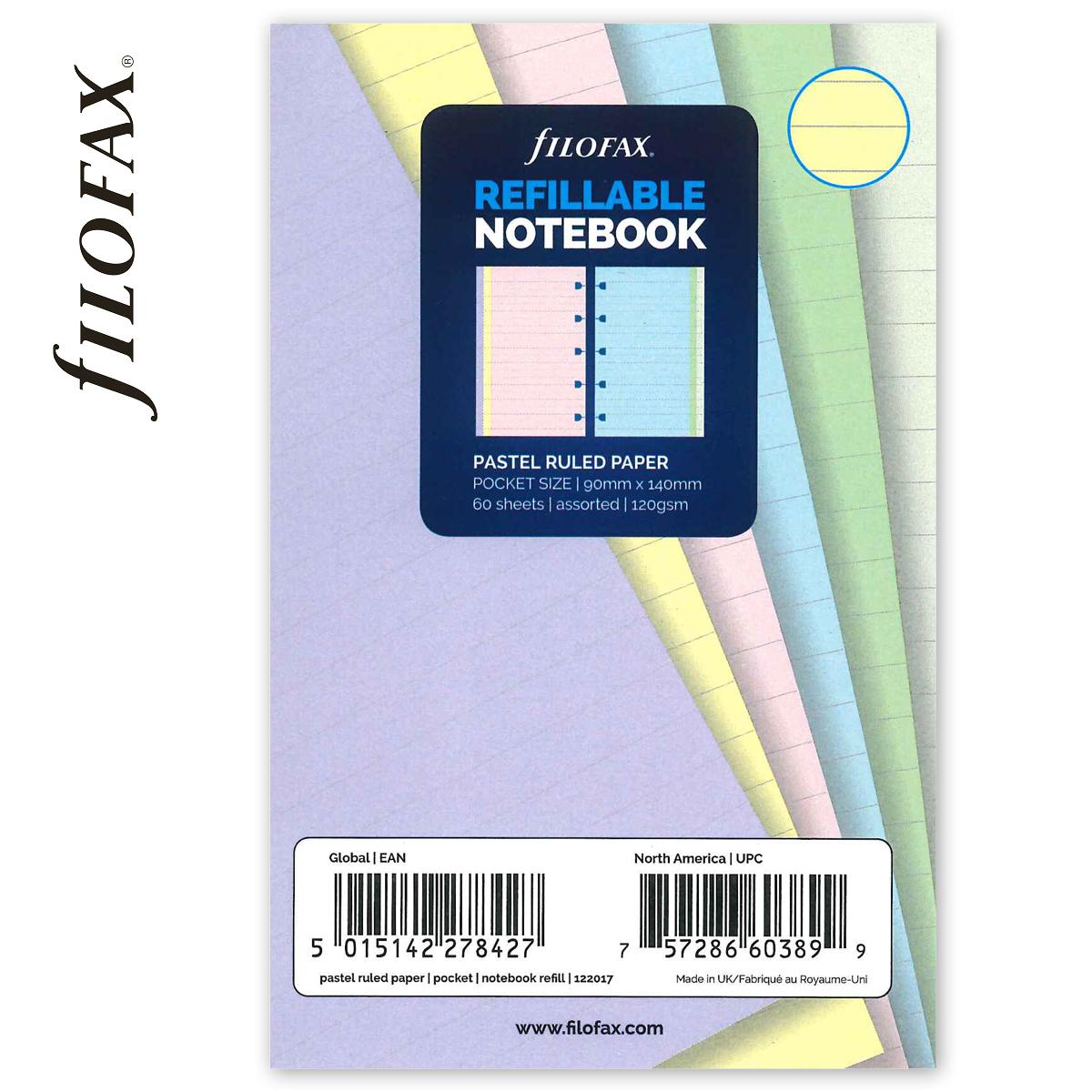 63a2adb88a69 Filofax Notebook Jegyzetlapok Vonalas Pocket Pasztel vegyes -