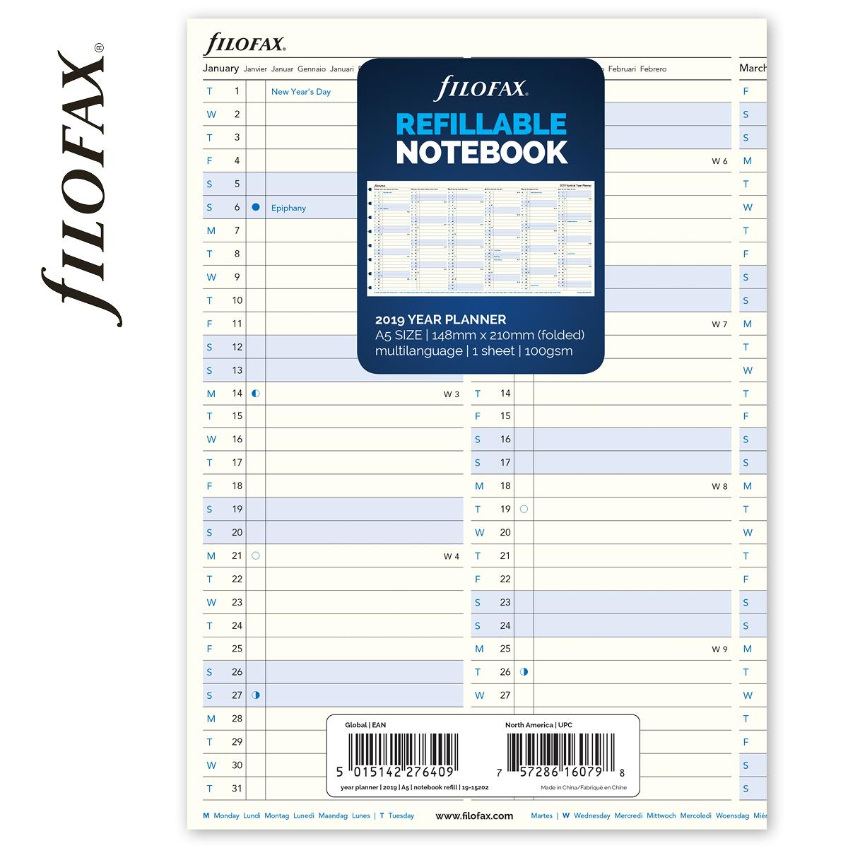 98e548513f30 Filofax Notebook Naptárbetét Éves vertikális A5 Fehér 2019 -
