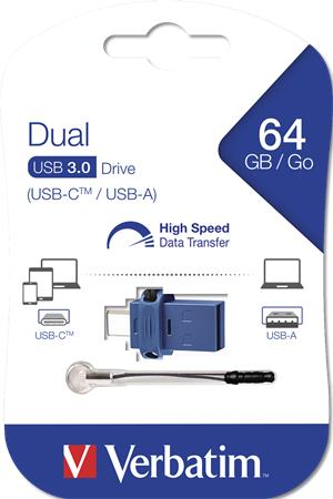 Pendrive, 64GB, USB 3.0+USB-C adapter, VERBATIM, -DUAL- -