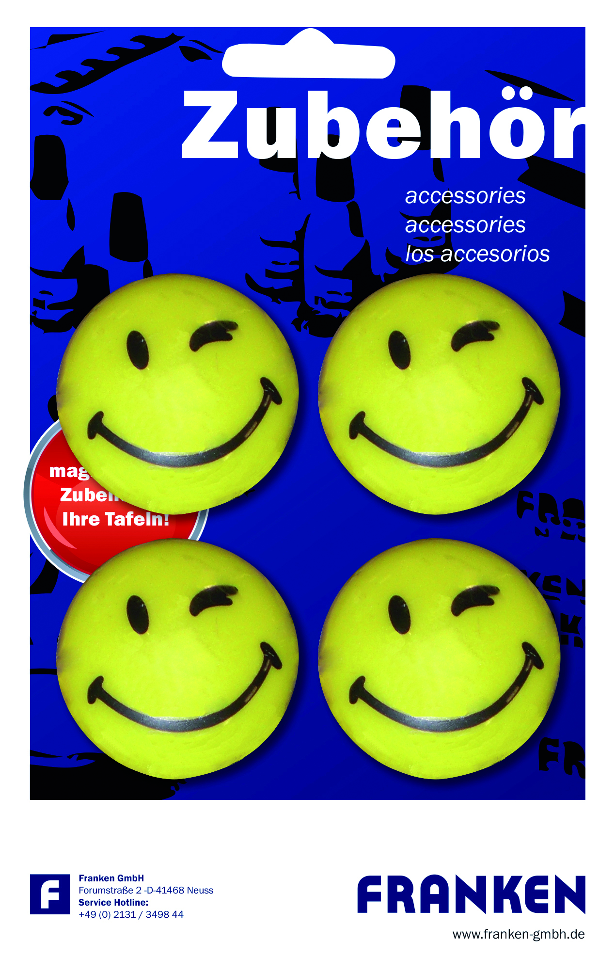 Táblamágnes Smile Happy 40mm kerek <4db/csom> FRANKEN -